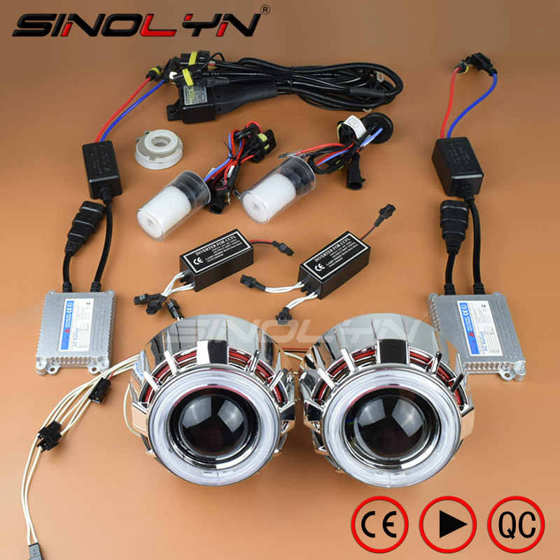 Sinolyn Car Styling 35W HID Bixenon Projector Lens Headlight Double Angel Eyes Halo Xenon Headlamp Lenses Retrofit Kit H1 H4 H7