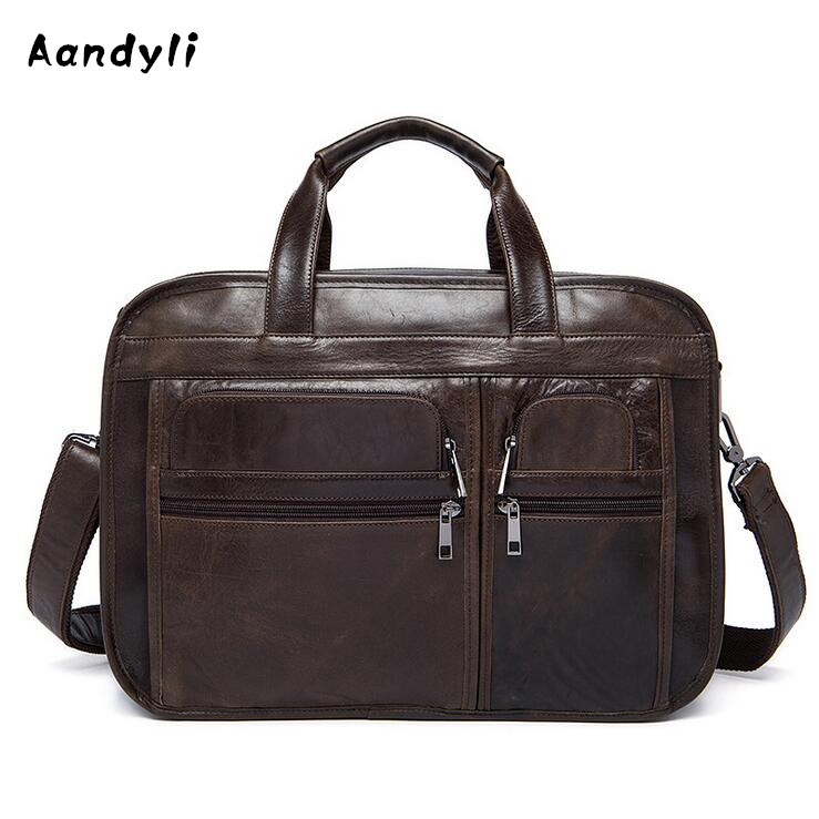 Genuine leather Men Crossbody Bags Business Handbags Men's Shoulder Bag Cowhide Laptop bag