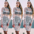 2016 Summer Women White Hollow Out Crochet Lace  Dress Women Geometric Embroidery Bodycon Dress Floral Beach Guipure Lace Dress