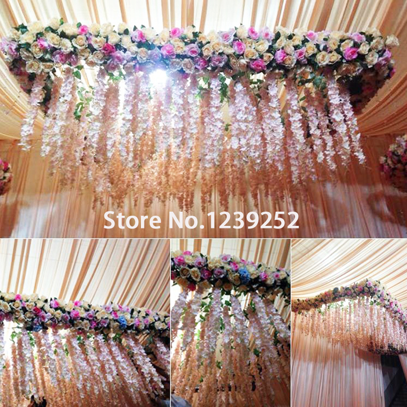 10pcs Wedding Decoration Silk Flower Garland Artificial Flower Hydrangea Vine Wedding stage set Party Home Garden Hotel decor