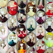 ZEROUP 3 размера Овальный стеклянный купольный кабошон милая девушка фотографии смешанный узор модное украшение Ювелирные изделия Поиск