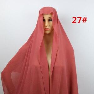Image 4 - HOT SALE High Quality 48 Nice Color plain bubble chiffon shawl popular muslim hijab head wear fashion women Shawl scarf 180*90cm