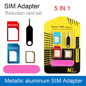 5-In-1 Micro Phone Sim-Card-Adapter Eject-Pin for And Tablets with Key Retail-Package
