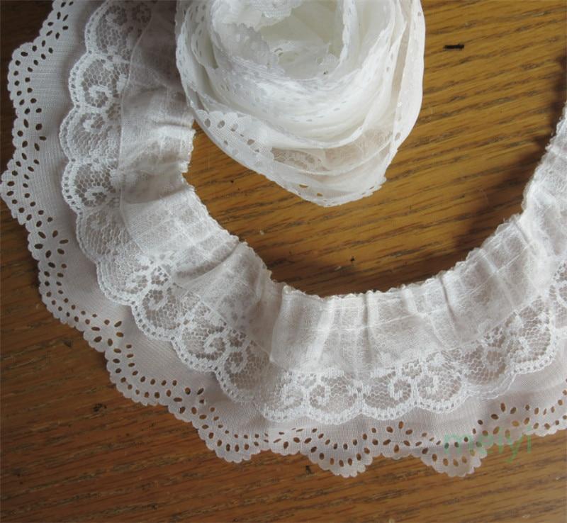 gathered aqua satin and white lace  trim fabric 50mm