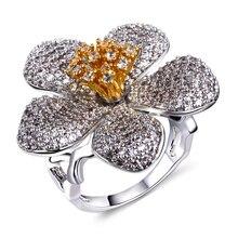 Flor de lujo Anillos de dedo de oro blanco plateado con circón cúbico anillo Partido de la alta calidad anillos de la muchacha Del Envío libre completo tamaño