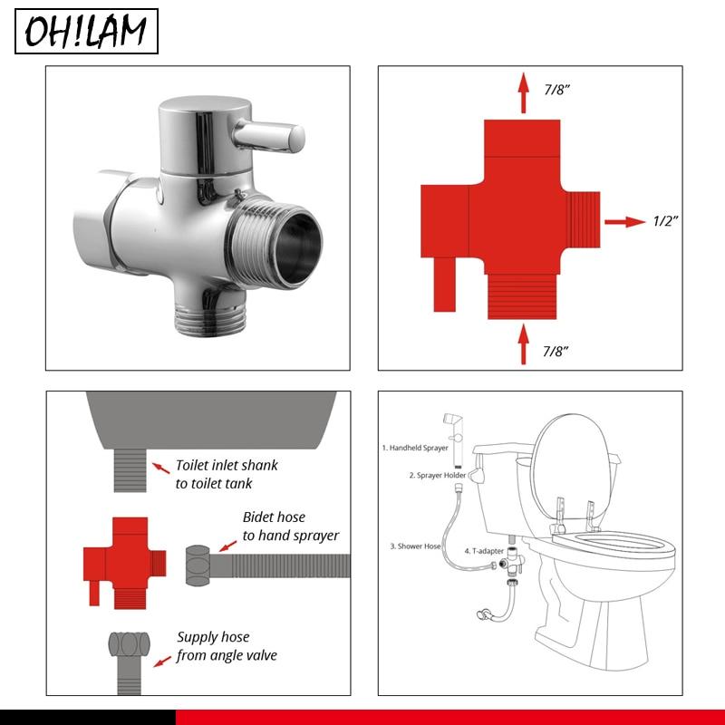 Bathroom Accessories Parts 3 Way Adjustable Hand Shower Diverter Valve T Adapter Tank Connector Diverter Angle Valve 7 8 Inch Bidets Aliexpress