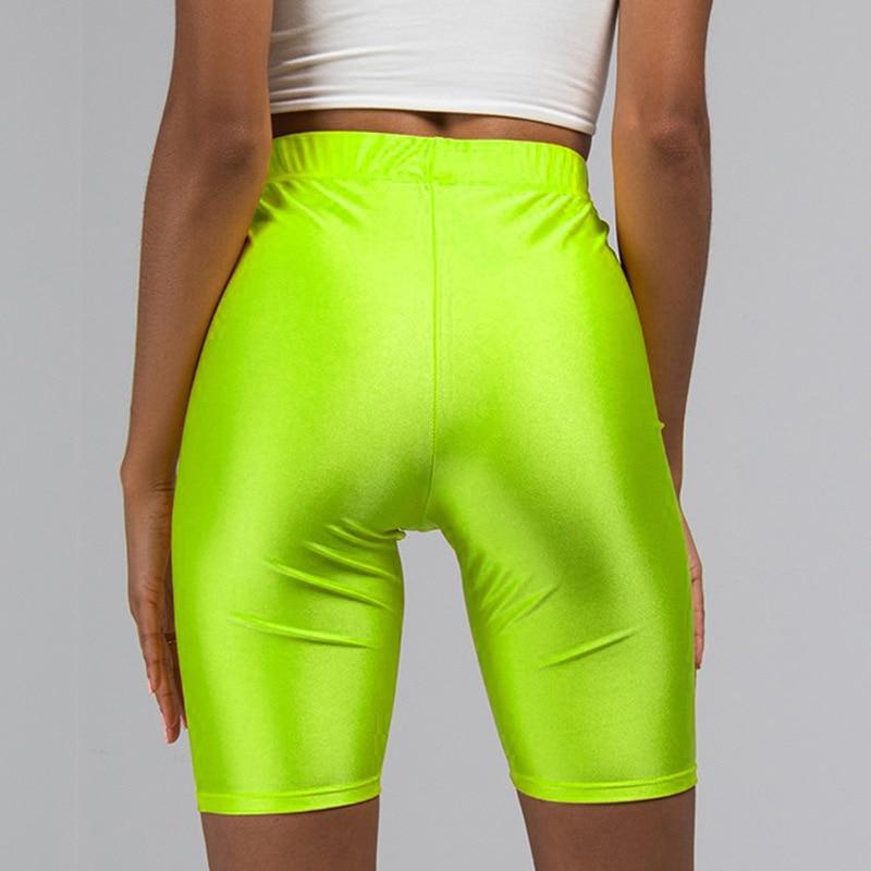 Purple yellow green red neon   shorts   elastic spandex bicycles solid high waist black biker   shorts   Everyday bodycon biker   short