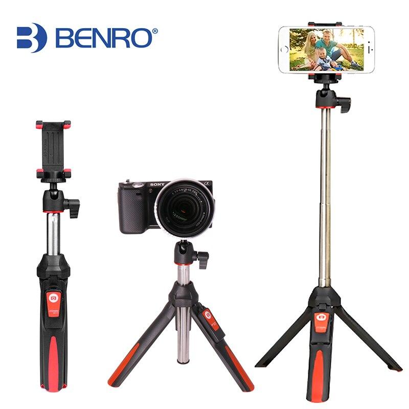 BENRO 33 polegadas Extensível Handheld Tripé Selfie Vara 3 em 1 Bluetooth Vara Selfie monopé Tripé para o iphone 8 Samsung Gopro 4 5