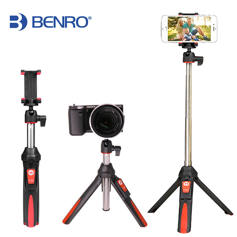BENRO 33 pollici Cavalletto Portatile Selfie Stick 3 in 1 Bluetooth Estensibile monopiede Selfie Stick Treppiede per iPhone 8 Samsung Gopro 4 5