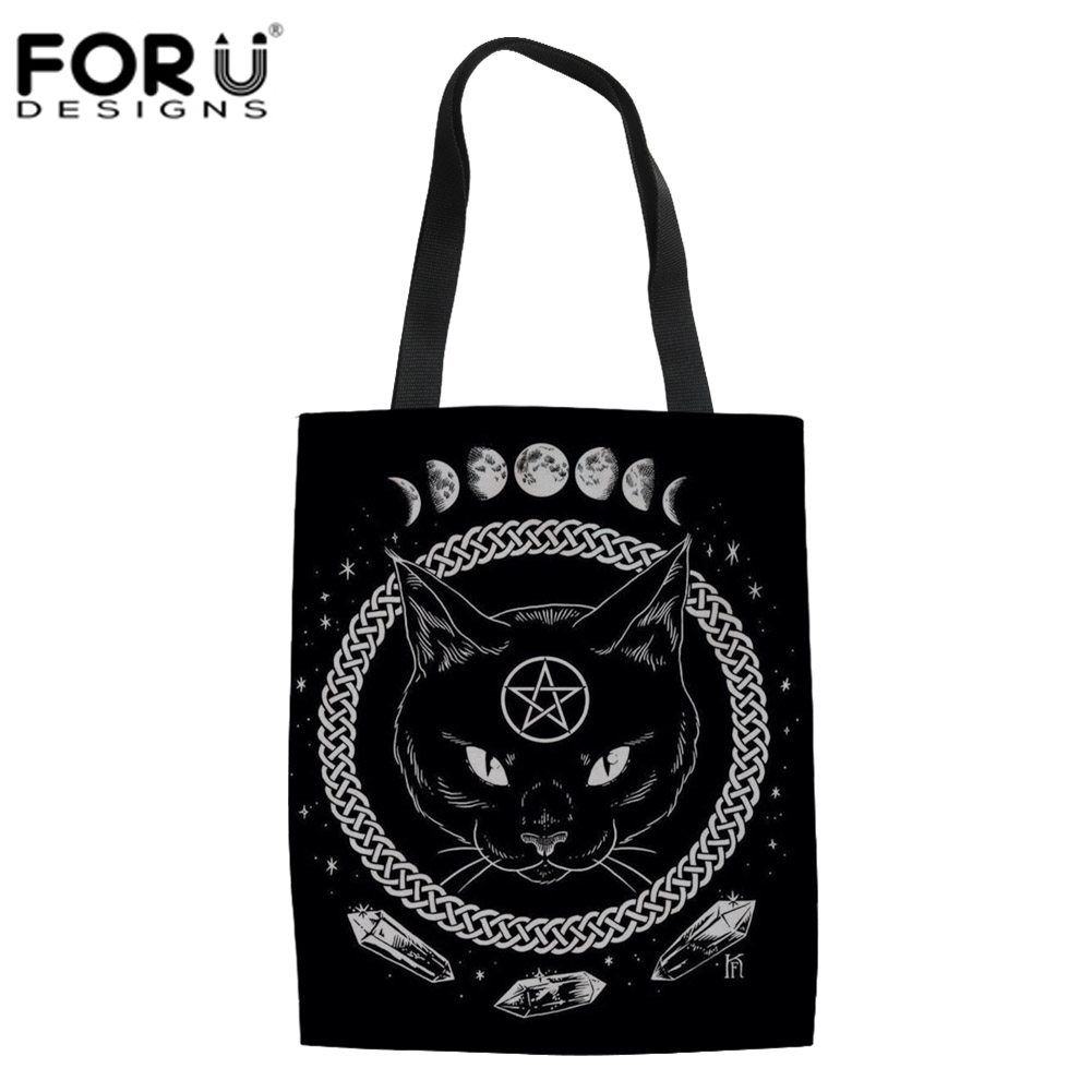 FORUDESIGNS Gothic Moon Phase Witchcraft Cat Shopping Bags for Women  Handbags Shoulder Tote Bags Ladies Large. US  8.82. (1). Cute Kitty Cat  Print Tote Bag ... 61d952be57e65