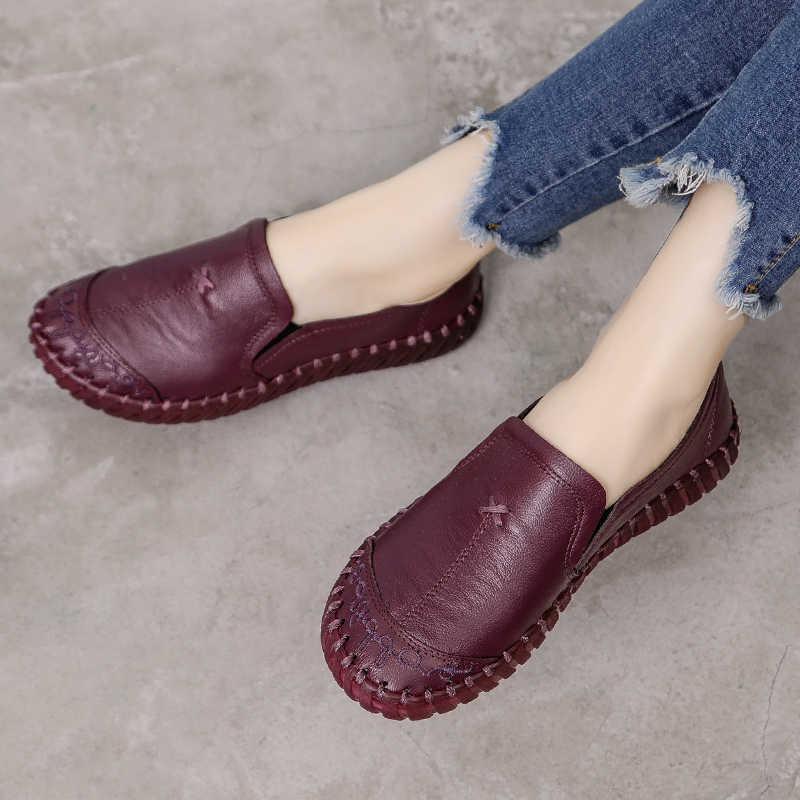 GKTINOO 2019 แฟชั่นผู้หญิงรองเท้าหนังแท้ Loafers รองเท้านุ่มสบายรองเท้าผู้หญิง