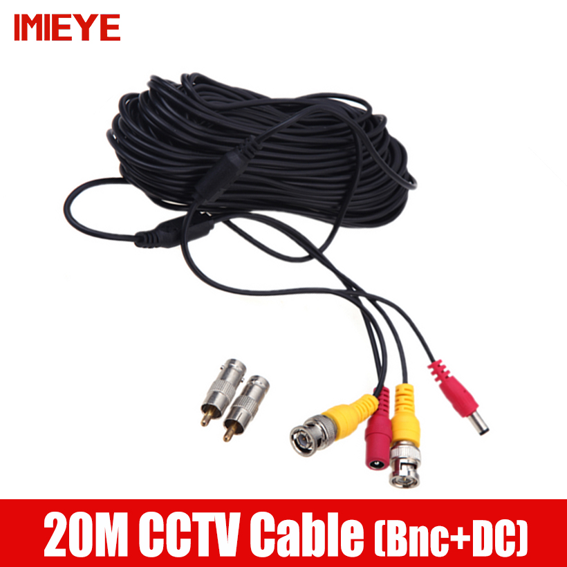 IMIEYE 20 Meters Quality BNC Video Power Cable of Surveillance DVR Kit And CCTV Camera Accessories Length 65ft Power Video Cable misecu bnc cable 18 3 meters power video plug and play cable for cctv camera system
