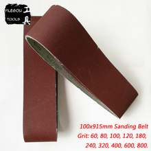 "5 Pieces 100 * 915mm Sanding Belt 4"" * 36 "" Sanding Screen 100*915 Abrasive Band With Girt 60 80 100 120 240 600 800 For Wood"