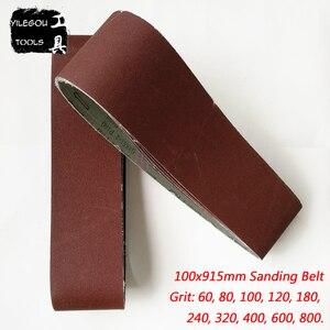 """Image 1 - Bande Abrasive pour bois, 100x915mm, 5 pièces, écran de ponçage 4 """"x 36"""" 100*915 avec ceinture 60 80 100 120 240 600"""