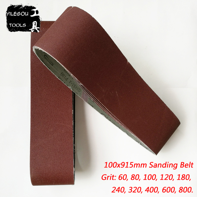 """Bande Abrasive pour bois, 100x915mm, 5 pièces, écran de ponçage 4 """"x 36"""" 100*915 avec ceinture 60 80 100 120 240 600"""