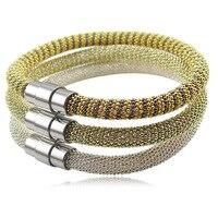 حار المقاوم للصدأ حبة سلسلة طلاء الذهب الحب أساور اللون المغناطيس مشبك الأزياء الفضة h أساور للمرأة