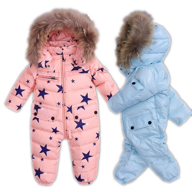 Russian Winter Infant Baby Snowsuit Duck Down Overalls Newborn Baby Rompers With Fur Boys Girls 80 Jumpsuit Enfant Snow Wear 2016 winter boys ski suit set children s snowsuit for baby girl snow overalls ntural fur down jackets trousers clothing sets
