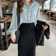 Blouse Women Chiffon Turn Down Collar Solid Long Sleeve Loose OL Fashion blusas mujer de moda 2019 Korean Style plus size