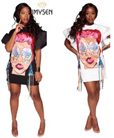 IMYSEN Summer Autumn Fashion Dress Hip Hop Cartoon Head Portrait Puff Sleeve Mini Dress Printed White