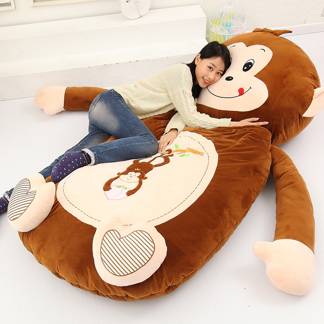 Dorimytrader Giant Cartoon Sleeping Bag Soft Plush Animals Beanbag Frog Bear Monkey Cat Bed Carpet Tatami Sofa Mat DY60497 2