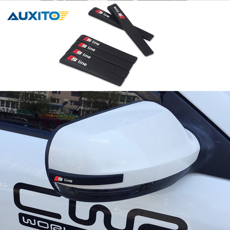 New Silicone Car-styling Car Door Mirror Anti Collision Sticker Stickers and Decals For Audi Sline A3 A4 A5 A6 A7 A8 B7 B8 Q5 C5 1 pair door protector anti collision canada flag emblem 3d car stickers creative car styling automobile accessories