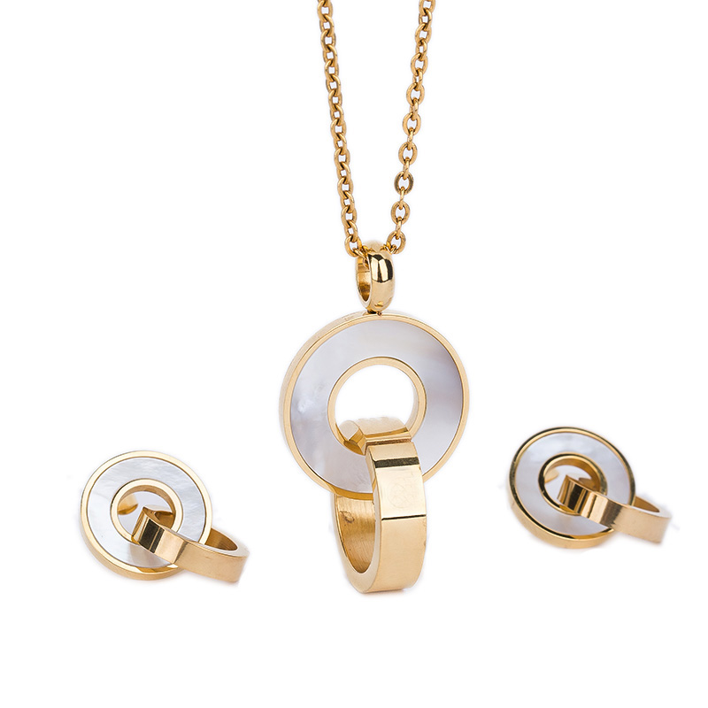 Fashion Jewelry Sets Gold Plated Stainless Steel Shell Pendant Necklace Earrings Accessory For Women Wedding Party