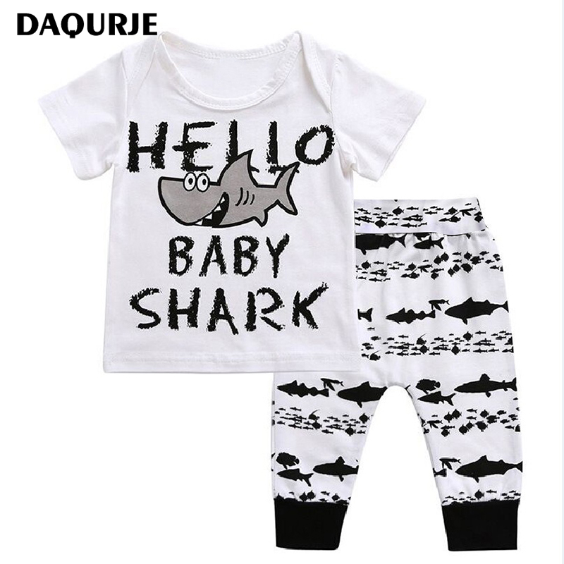 Newborn Baby Boy Clothes 100% Cotton Short sleeve T-Shirt+Pants shark patte Infant Baby Clothing Sets Kids Children Costume baby boy clothes kids bodysuit infant coverall newborn romper short sleeve polo shirt cotton children costume outfit suit