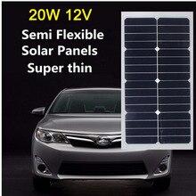 High Efficiency 20W 12V Solar Panel Energy Semi Flexible Monocrystalline Sunpower for RV Car Boat PV Poly solar Module