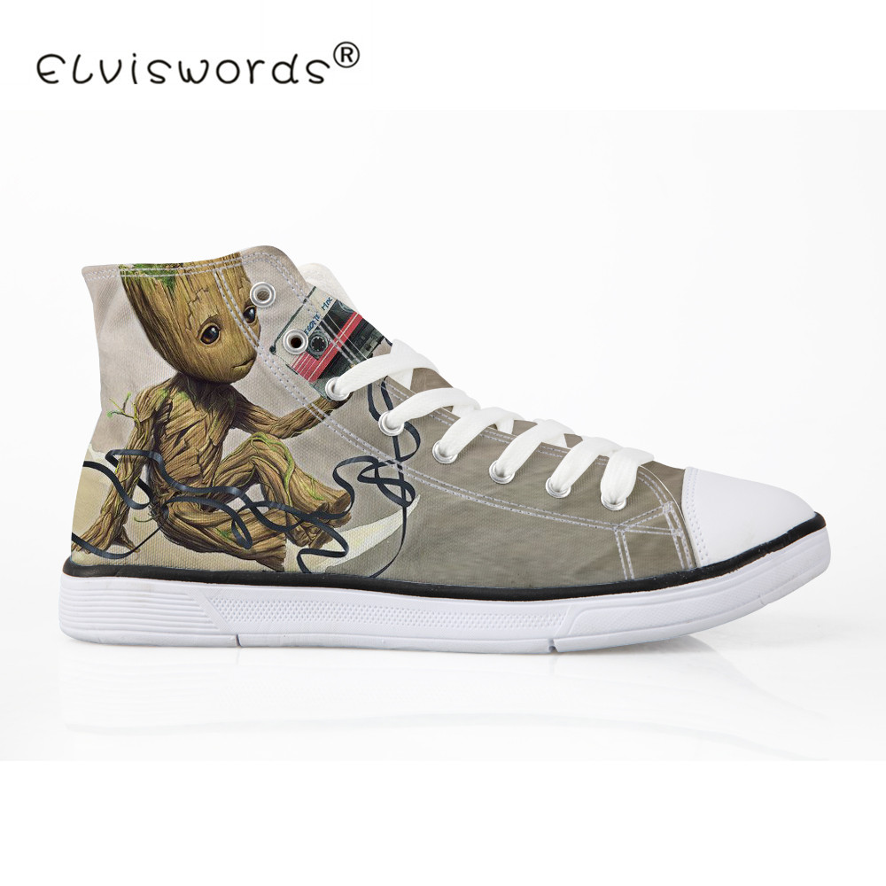 ELVISWORDS Flat Women Canvas Shoes Lace-up Teenager Casual Shoes White Shoes Groot Lover Print Ladies Espadrilles Big Size 35-45 стоимость