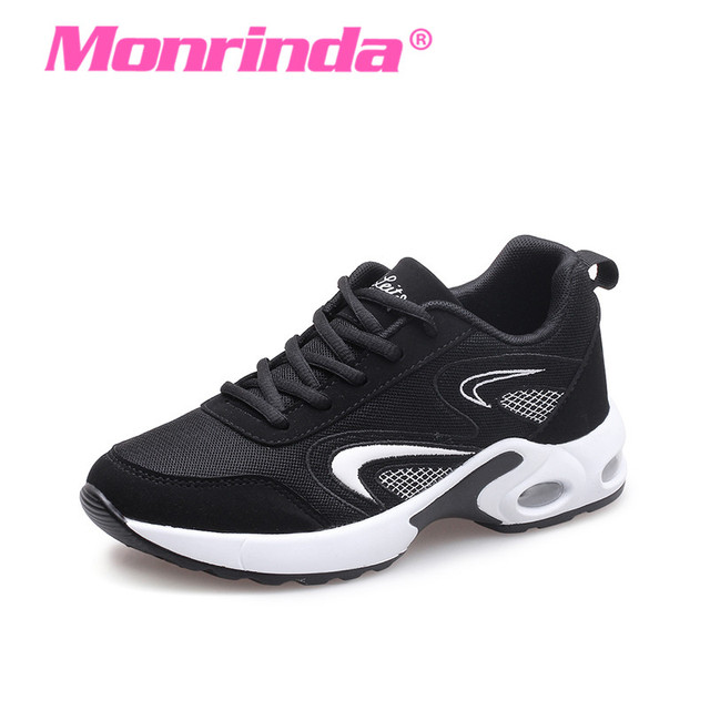 Breathable Women Running Shoes Air Cushion Sneakers for Woman Lace Up Outdoor Walking Jogging Footwear Black Sports Zapatillas