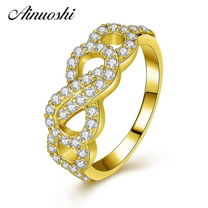 AINUOSHI 14 K mode creux noeud noeud anneau 14 K solide or jaune SONA simulé diamant mariage bague de fiançailles pour femmes bijoux