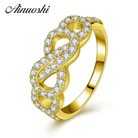 AINUOSHI 14K Fashion Hollow Bow Knot Ring 14K Solid Yellow Gold SONA Simulated Diamond Wedding Engagement Ring for Women Jewelry