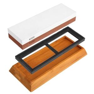 Image 2 - 숫돌 연마 숫돌, 나이프 숫돌 키트, 1000/4000 그릿 요리사 나이프 숫돌 미끄럼 방지 실리콘베이스 홀더 및 바지