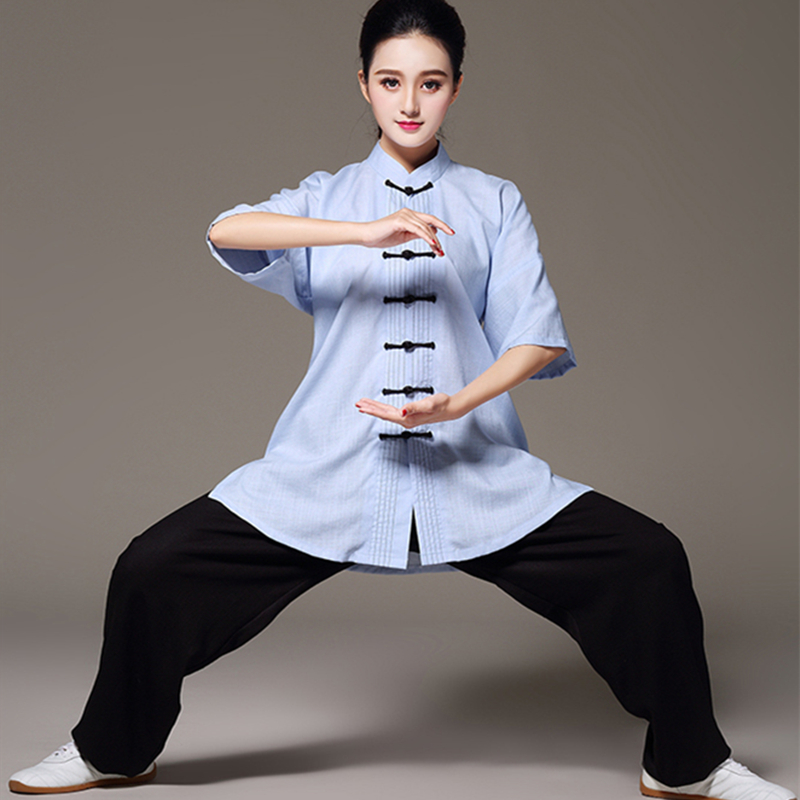 10 Styles Optional Tencel and Linen Tai Chi Clothes Short Sleeve Taiji Suits Kung Fu Uniform Chinese Tang Pan Kou Shirt+Pants