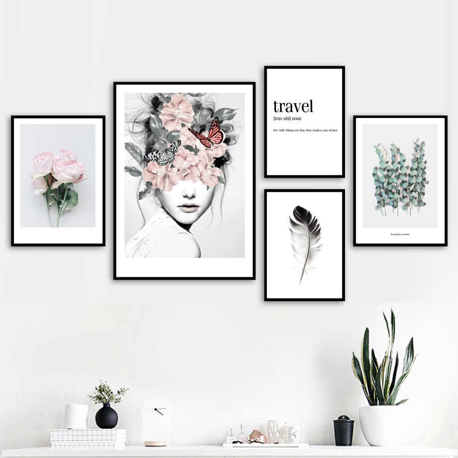 Flower Leaf Feather Girl Peony Wall Art Canvas Painting Quotes Nordic Posters And Prints Wall Pictures For Living Room Decor