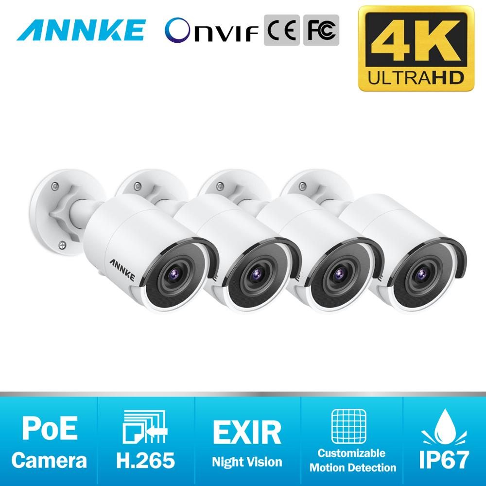 ANNKE 4X Ultra HD 8MP POE Camera 4K Outdoor Indoor Weatherproof Security Network Bullet EXIR Night Vision Email Alert Camera Kit-in Surveillance Cameras from Security & Protection
