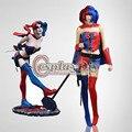 DC Comic Новый 52 Harley Quinn Синий и Красный Хэллоуин Карнавал Косплей Костюм На Заказ