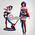DC Comic New 52 Harley Quinn Blue and Red Halloween Carnival Cosplay Costume Custom Made