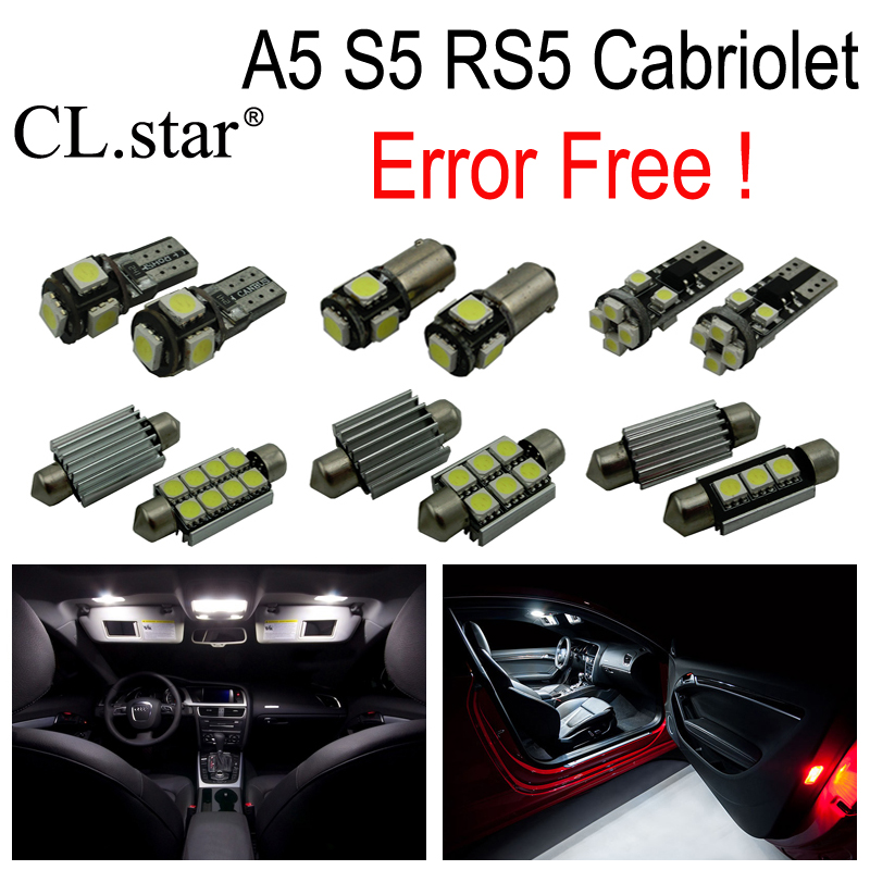 10pcs canbus error free LED bulb interior dome light kit package for Audi A5 S5 RS5 Convertible Cabriolet (2009-2015)