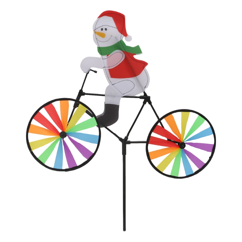 Wind Spinner Whirligig Yard Garden Decor 3D Large Santa Claus Bike Windmill