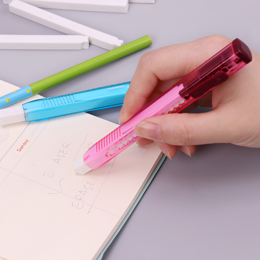 1 Set Utility Knife Shape Creative Eraser Pencil Rubber Erasers Two Replace Refills Student Stationery School Supplies