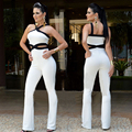 Plus Size New Arrival Women Flare Pants 2016 Sexy Cut Out Cross Bandage Bodycon Full-Length Jumpsuit Club Night Long Romper
