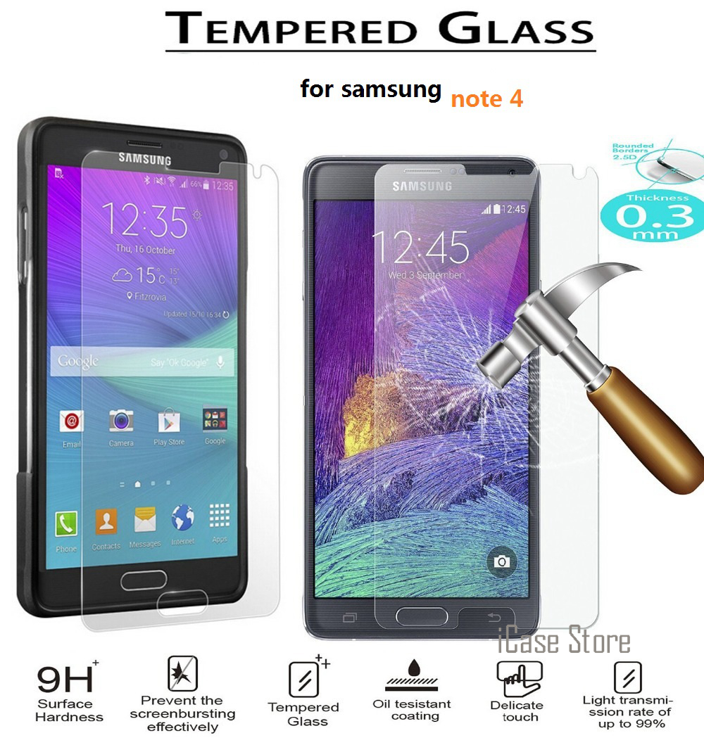 Tempered Glass For Samsung Galaxy Note 4 note4 N9100 N910F N910K N910L N910S N910C Screen Anti Shatter Protector Film Case