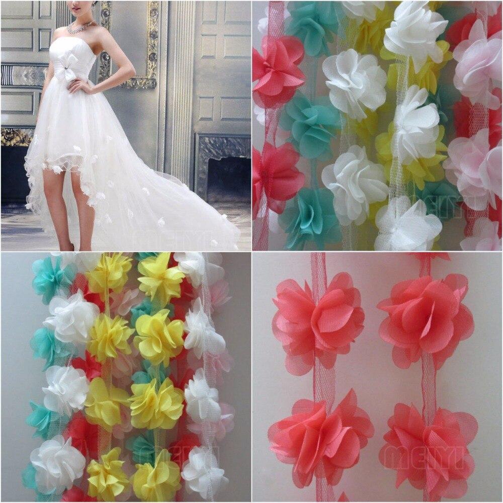 Fabric Flower Trim: Aliexpress.com : Buy 10x 3D Flower Chiffon Petals Leaves