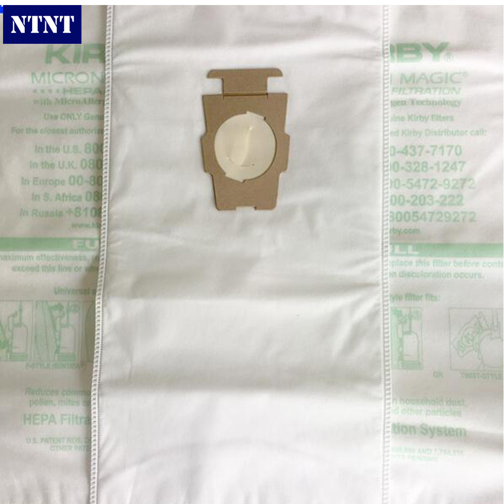 NTNT KIRBY VACUUM BAGS: 6 Sentria UNIVERSAL ~ F Style MICRON MAGIC Hepa White Cloth With Printing Logo Original Bags 6Pcs / Lot 1 pcs for kirby sentrial f t dust bag for kirby universal bag suitable for kirby universal hepa cloth microfiber dust bags