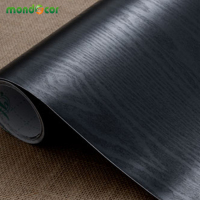 5M New Wood Grain Black DIY Decorative Film Wall Sticker Furniture Renovation Kitchen Cabinet Waterproof Self