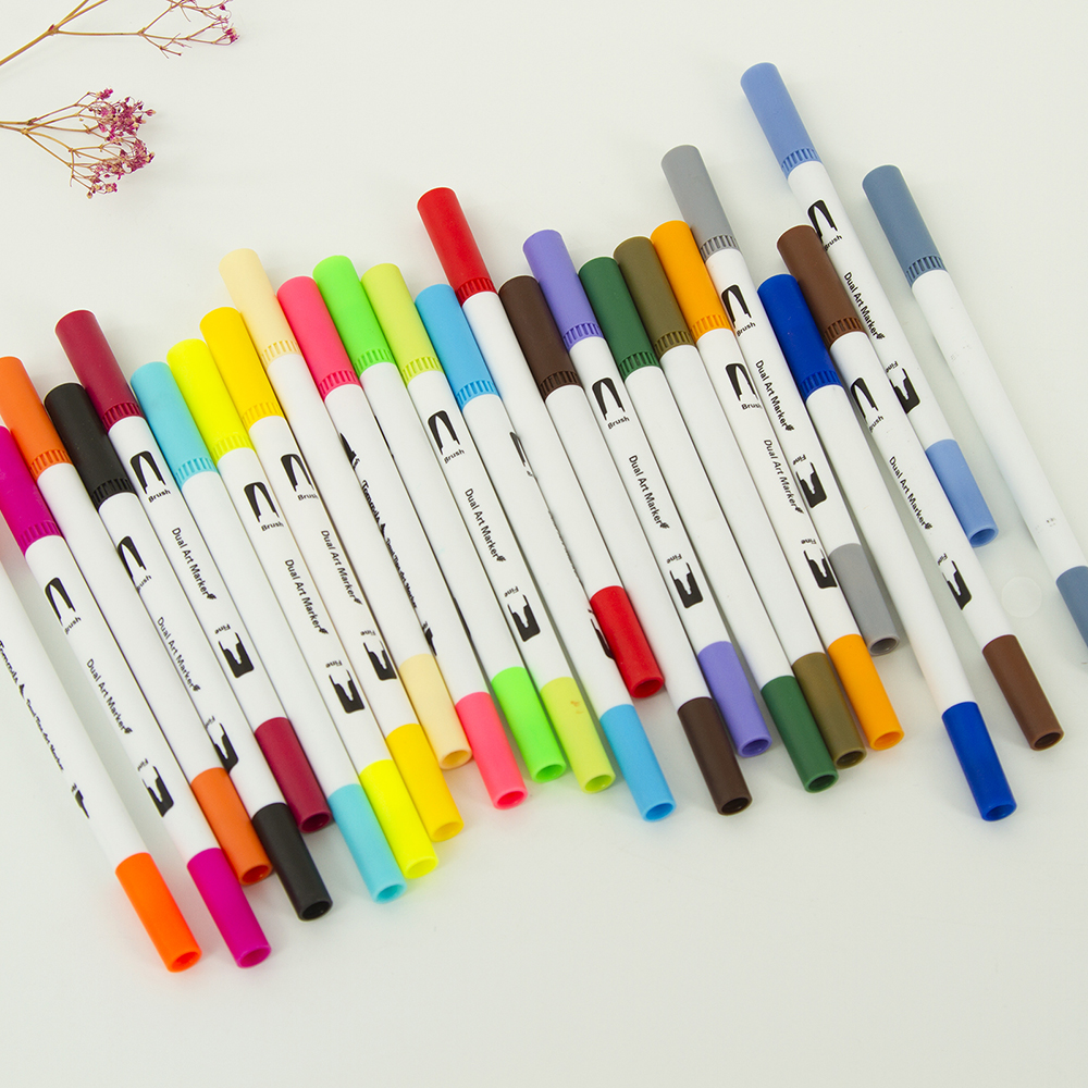 0 4 Fine Tip Markers Brush Highligter Pen Set of 24 for Adults Coloring Book in Art Markers from Office School Supplies