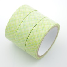 2016 New 1x Green Colored Checked Tartan Patterned Japanese Washi Tape DIY Office Adhesive Tape Decorative Masking Tape 5m