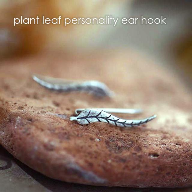 e-Manco New Hot 925 Sterling Silver Plant Leaf Hook Earrings for Women Delicate Individuality Hook Earrings Fine Jewelry