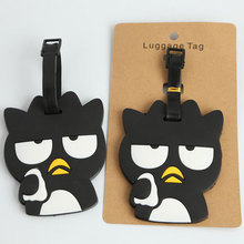 Funny BAD black cool penguin luggage tags schoolbag key chain ring bag hanger cute toys gifts boys backpack cute